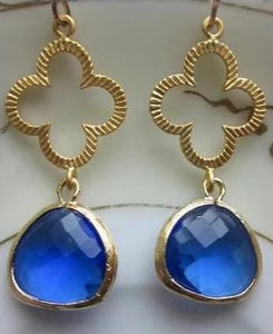 Cobalt Blue Earrings Gold Clover Quatrefoil