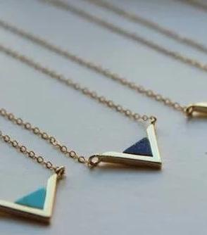 Gold Triangle Geometric Necklace