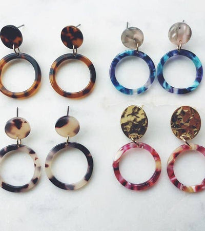 Tortoise Shell Hoop Earrings, Resin Stud Earrings