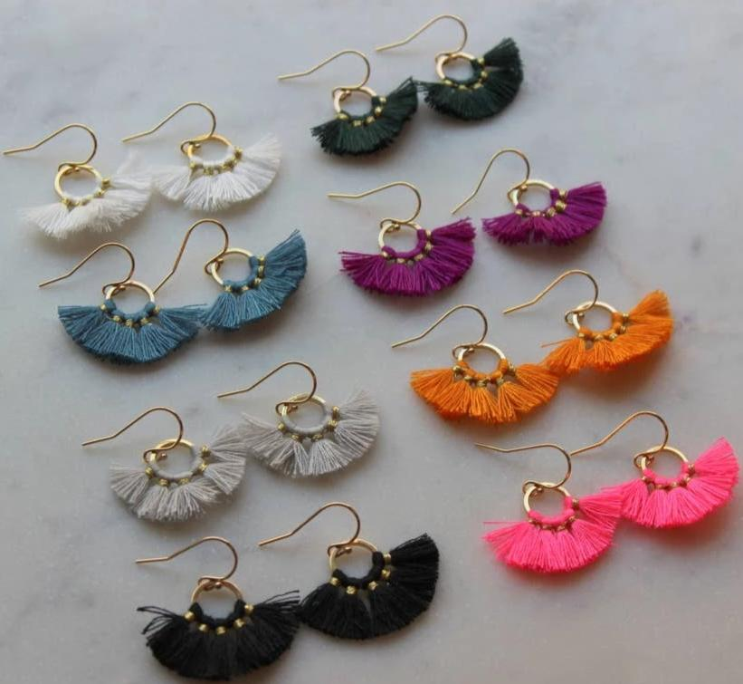 Fan Tassel Hoop Earrings