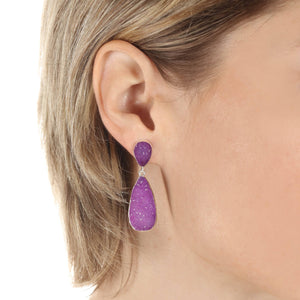New York Druzy Earring - Violet Silver