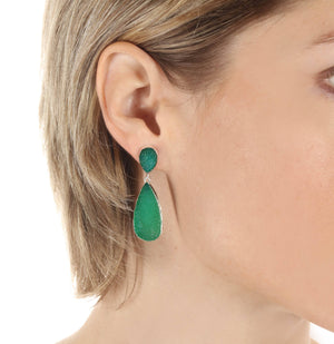 New York Druzy Earring - Emerald Silver