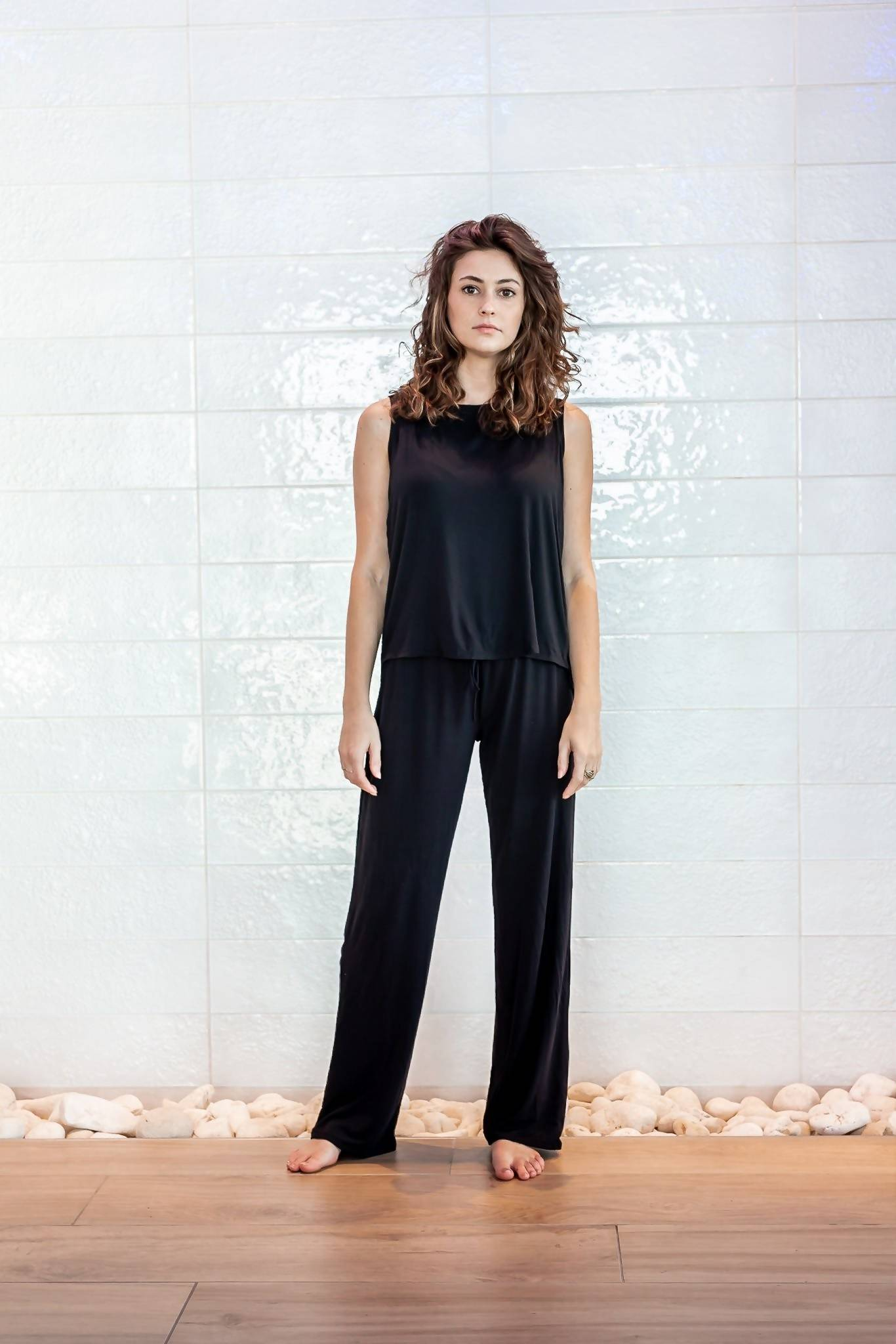 The Ashley- Bamboo Pajama Lounge Pants in Black