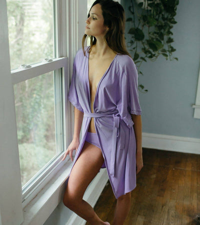 The Karen- Bamboo Restful Robe in Lavender