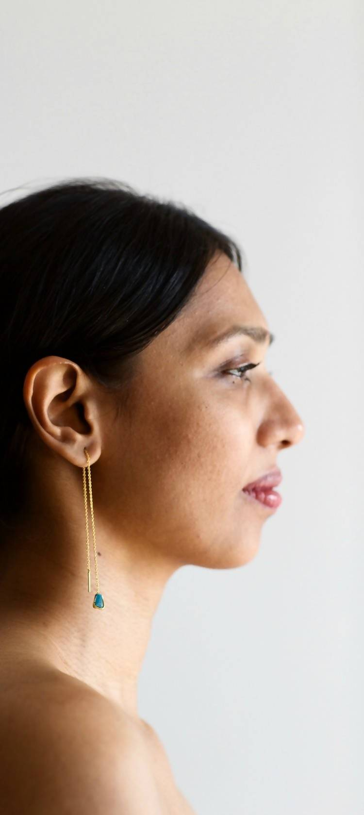 Sonder Raw Stone Threader Earrings