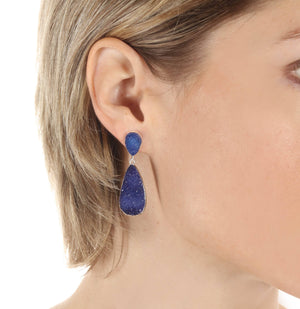 New York Druzy Earring - Navy Silver