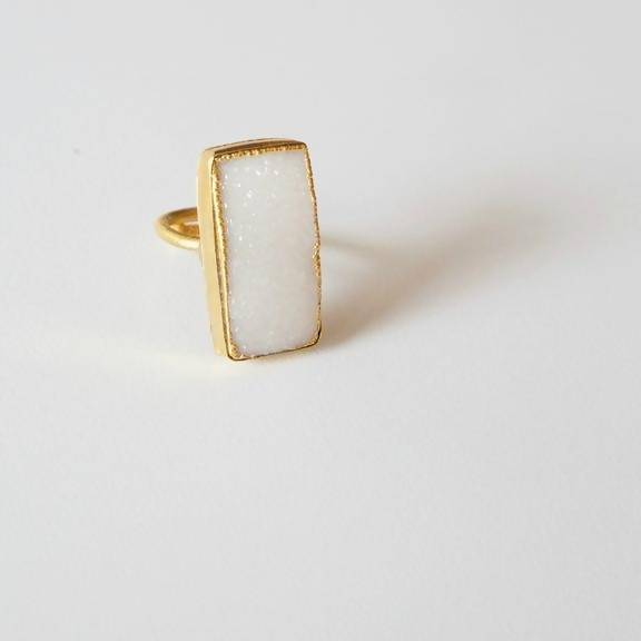 Cannes Rectangle Druzy Ring