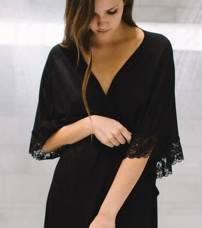 The Karen- Bamboo Restful Robe in Black