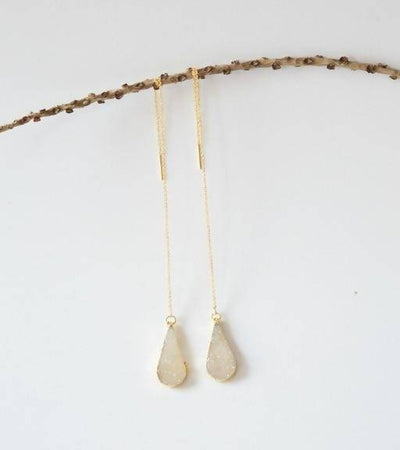 Teardrop Druzy Threader Earrings