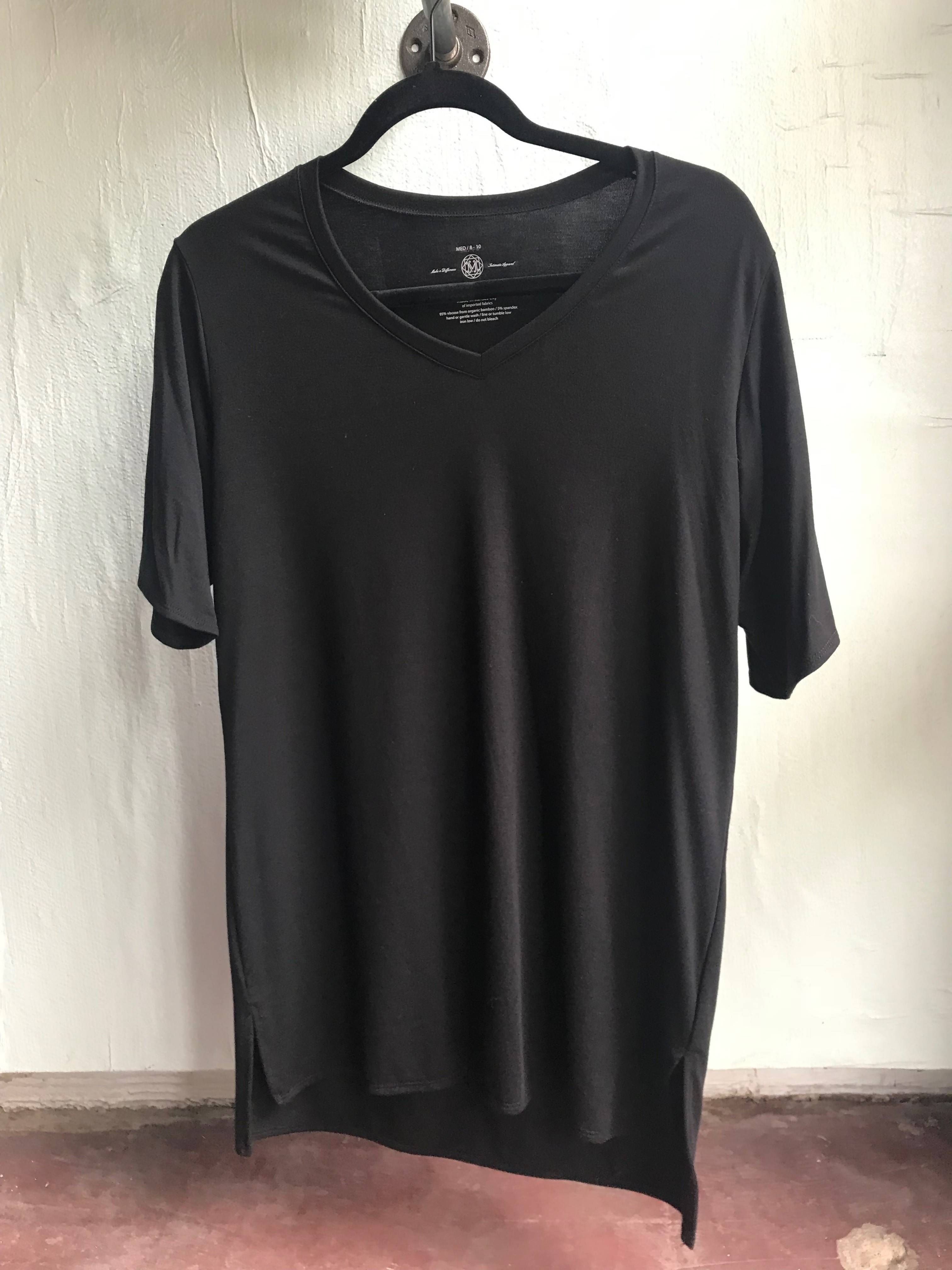 The Samantha- V Neck Bamboo Tee in Black