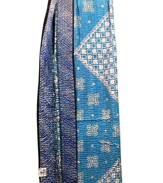 Kantha Throw Quilt - Cool Water