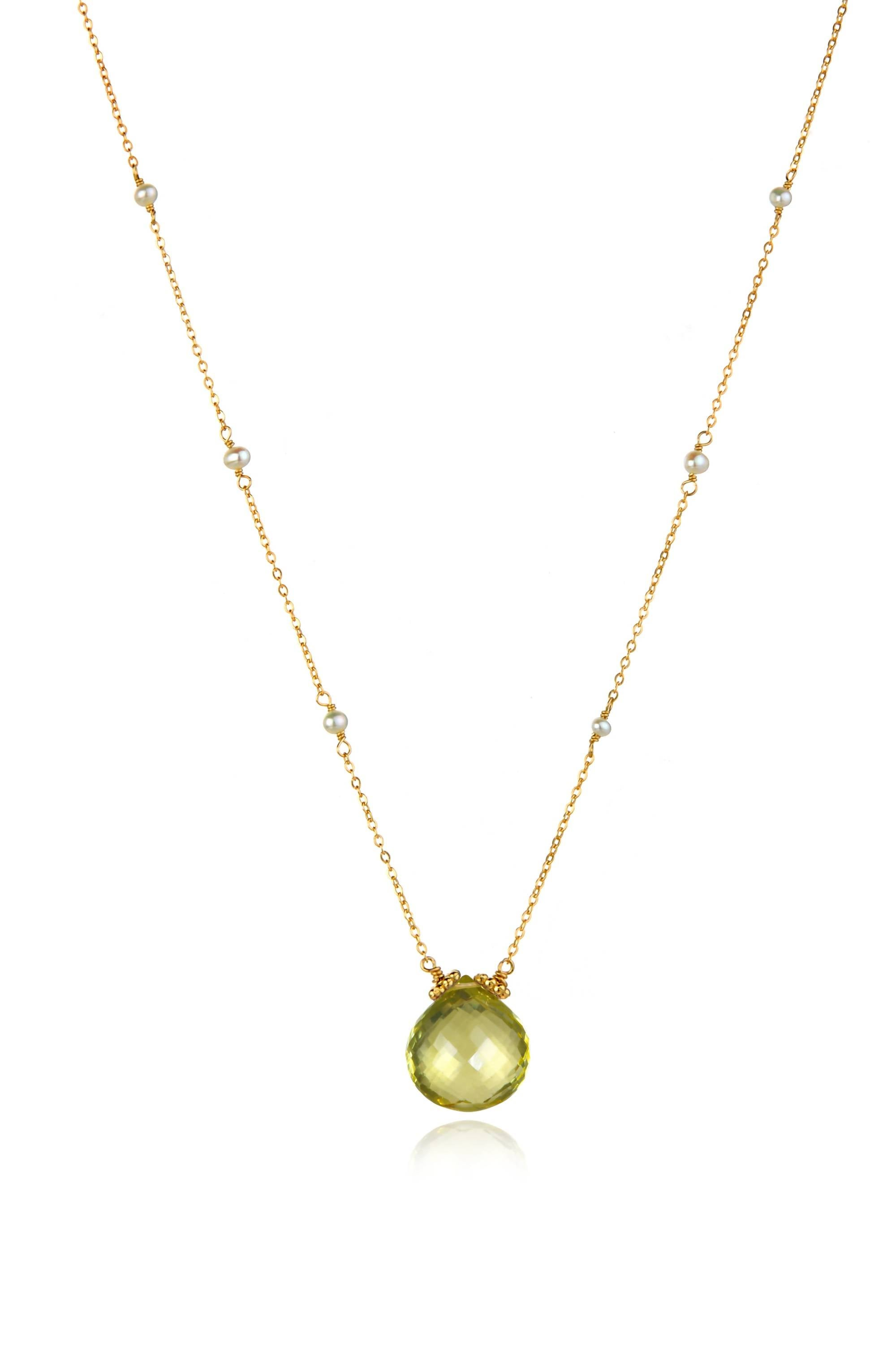 Catherine Necklace-Lemon Quartz Gold