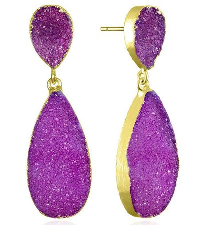 New York Druzy Earring - Violet Gold
