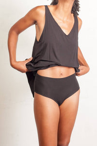 The Sybil- Bamboo Sleep Tank in Black