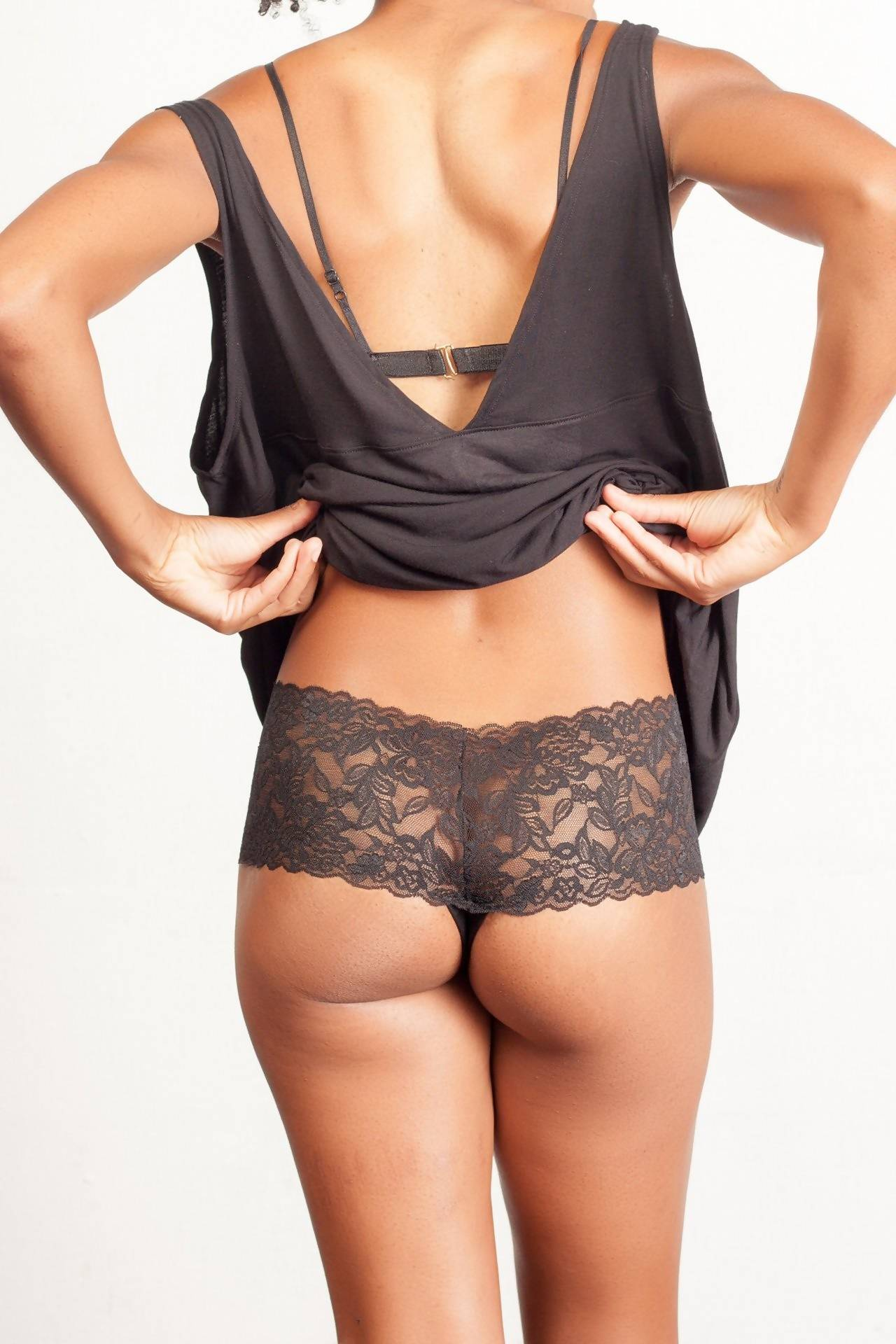 The Diana- Wide Lace Thong in Black