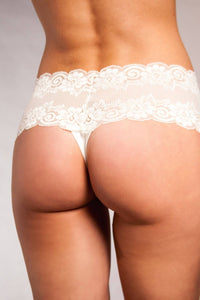The Diana- Wide Lace Thong in Ivory