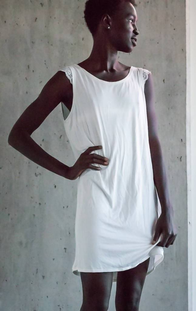 The Anna- Day or Night Bamboo Shift Dress in Ivory