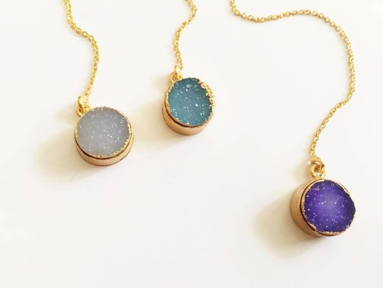 Circle Druzy Threader Earrings
