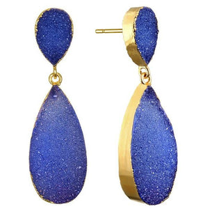 New York Druzy Earring - Navy Gold