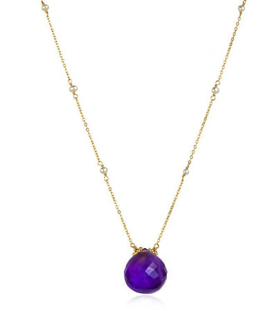 Catherine Necklace-Amethyst Gold