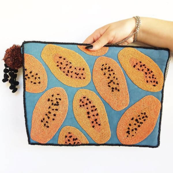 Beaded Papaya Clutch
