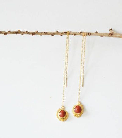 Red Seed Threader Earrings