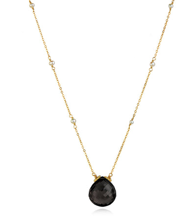 Catherine Necklace-Black Spinel Gold
