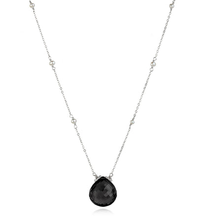 Catherine Necklace-Black Spinel Silver