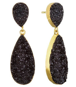 New York Druzy Earring - Black Gold