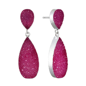 New York Druzy Earring - Fuchsia Silver
