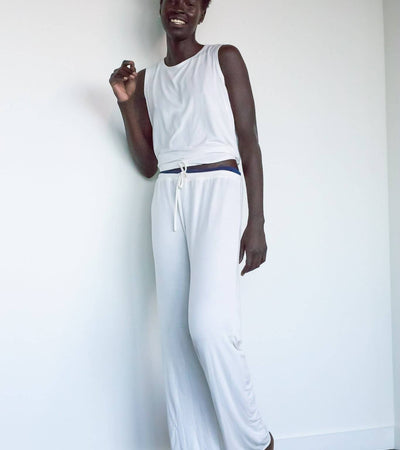 The Ashley- Bamboo Pajama Lounge Pants in Ivory