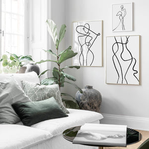 jw08 Monochromatic Abstract Feminine Wall Prints