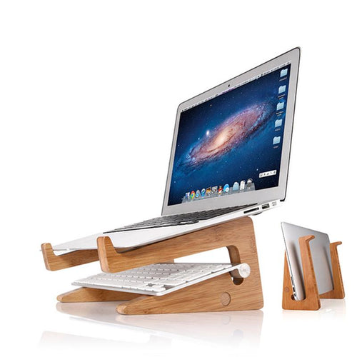 jw08 Bamboo Detachable Laptop and Tablet Stand