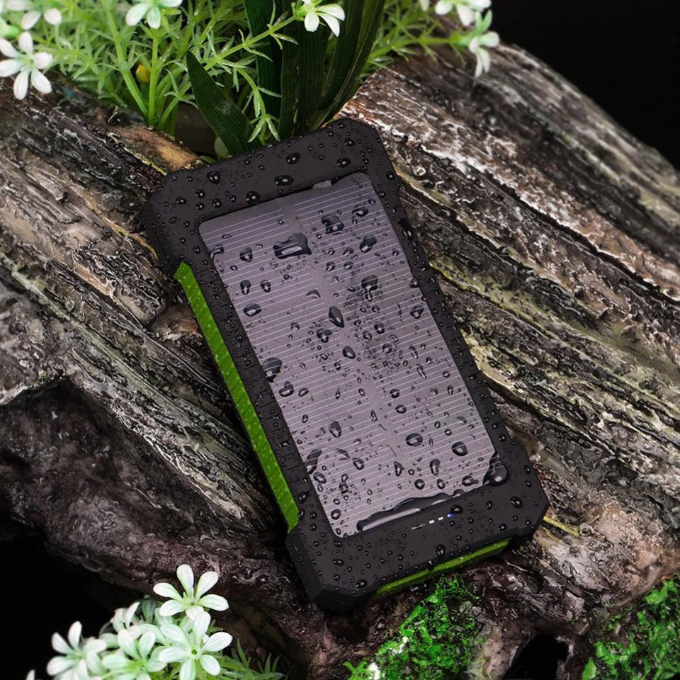 jw08 Rugged Waterproof Solar Panel Charger with LED Flashlight