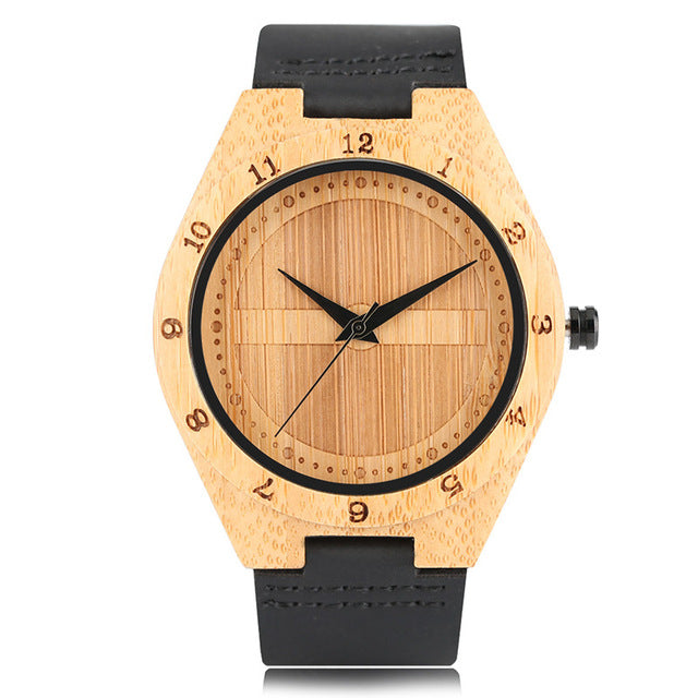 Engadgetry Wood Quartz Wristwatch with Black Leather Band