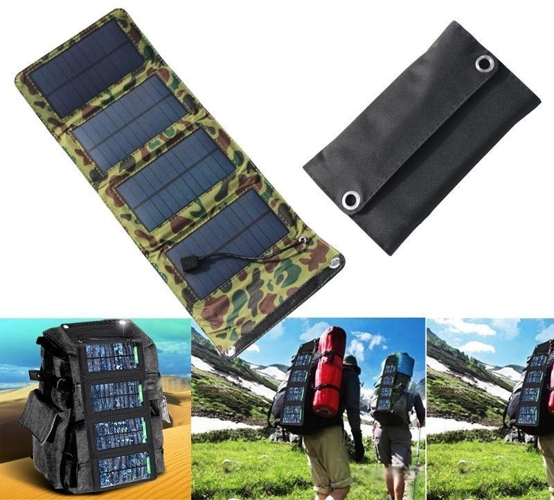 jw08 Camouflage Foldable Solar Power Multi-Panels Charger