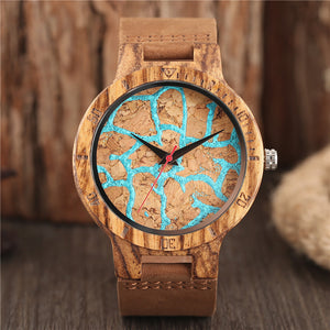 Engadgetry Mount Fuji Blue Lava Quartz Wristwatch with Leather Strap