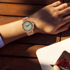 jw08 Mount Fuji Blue Lava Quartz Wristwatch with Leather Strap