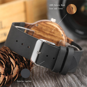 jw08 Burning Man Retro Wood Quartz Wristwatch with Leather Strap