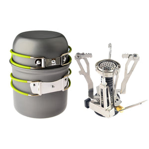 jw08 Portable Outdoor Camping Cookware and Stove Kit