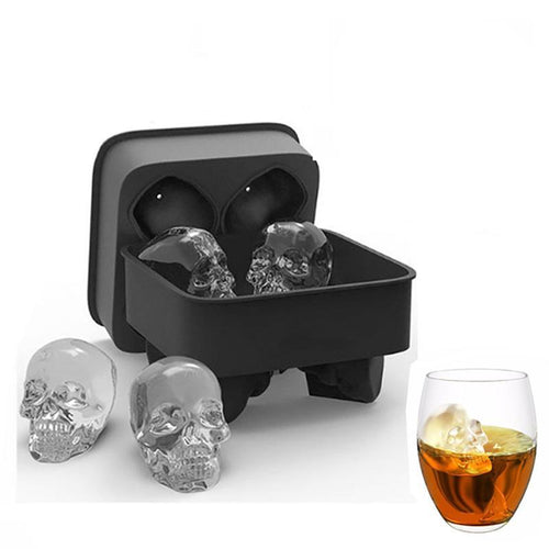 jw08 Bar Skull Ice Cube Molds for Whiskey Cocktail and High Ball