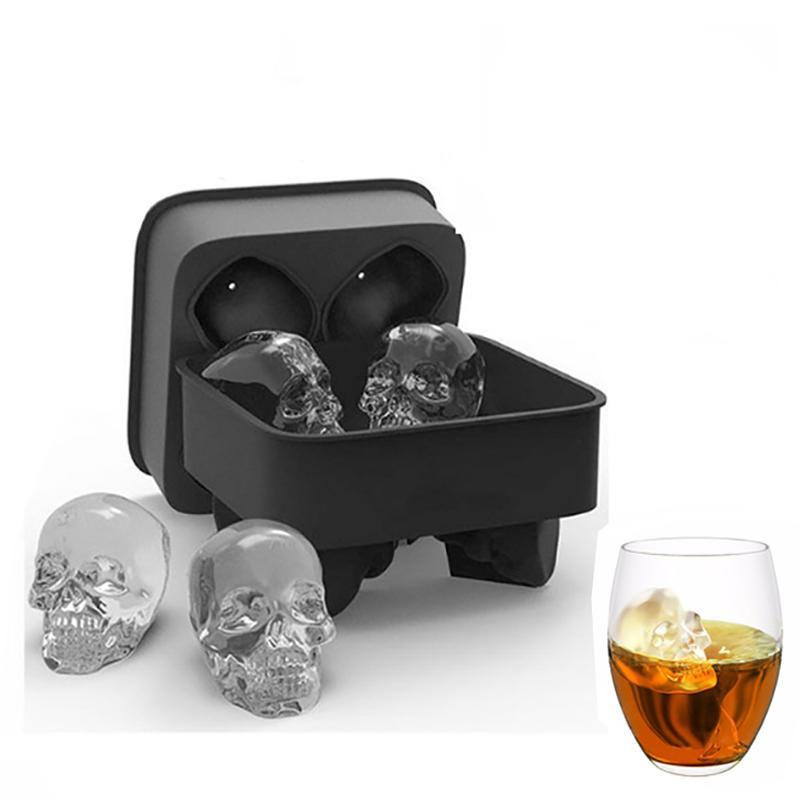 Engadgetry Bar Skull Ice Cube Molds for Whiskey Cocktail and High Ball