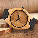jw08 Wood Quartz Wristwatch with Black Leather Band