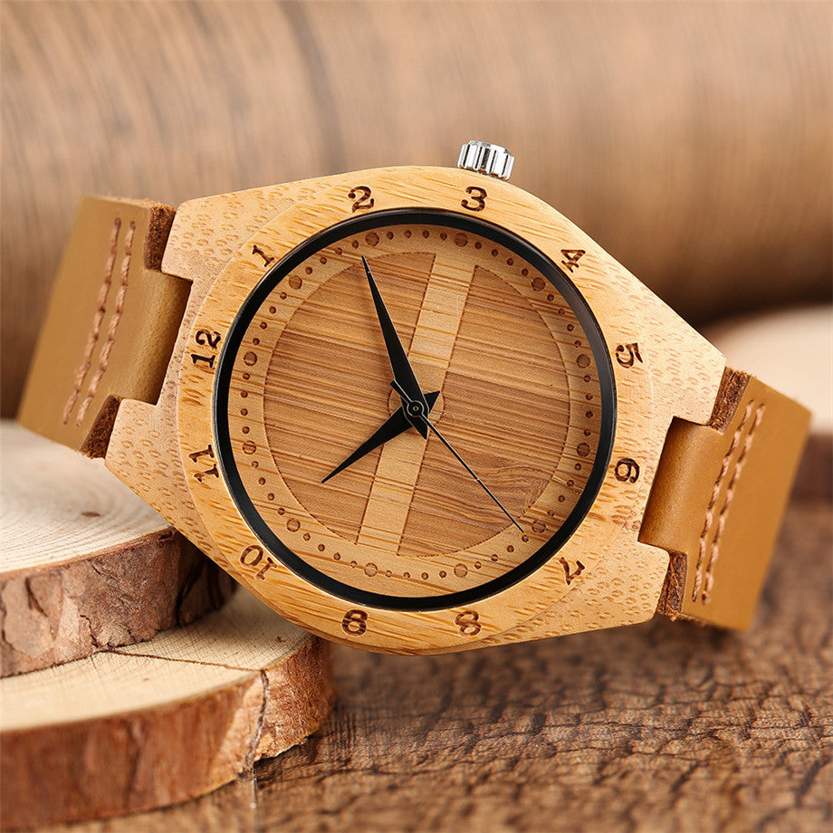 jw08 Wood Quartz Wristwatch with Brown Leather Band