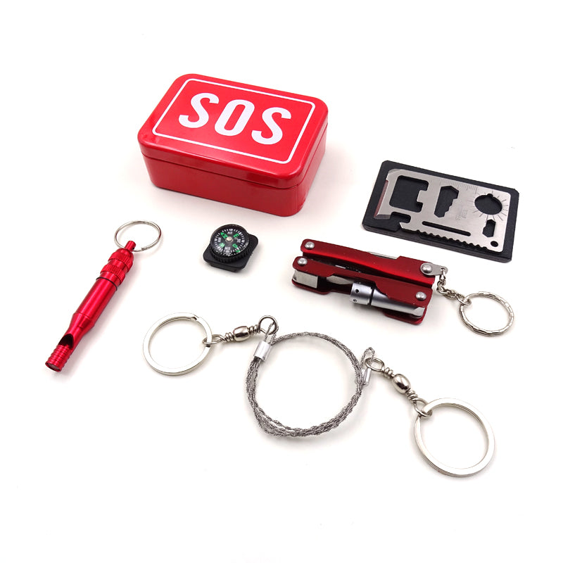 jw08 SOS Camping Survival Kit with Multi Tool Gadgets