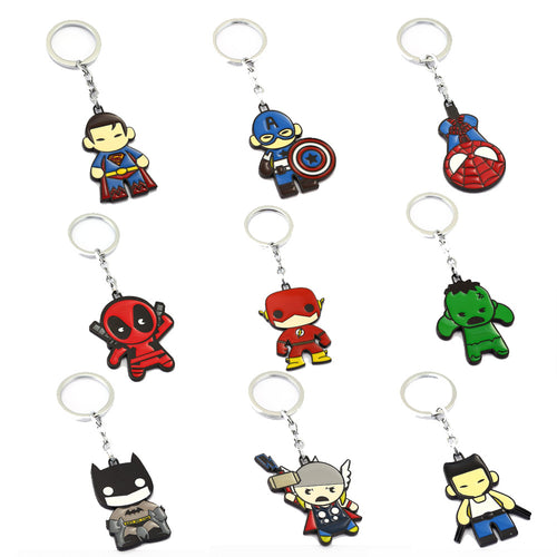 jw08 Avengers Superhero Keychain Thor Captain America Hulk The Flash Deadpool Batman