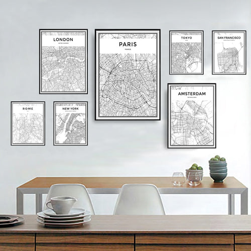 Engadgetry Monochromatic World City Contour Map Print