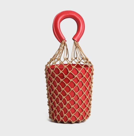 jw08 Fishing Nets Straw Bucket Bag