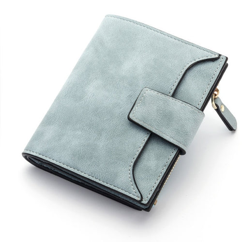 jw08 Saffino Vegan Leather Women Wallet and Coin Pocket Purse in Pale Blue