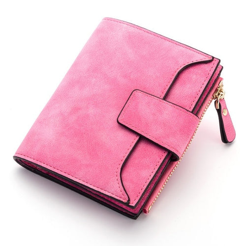 jw08 Saffino Vegan Leather Women Wallet and Coin Pocket Purse in Rose Pink